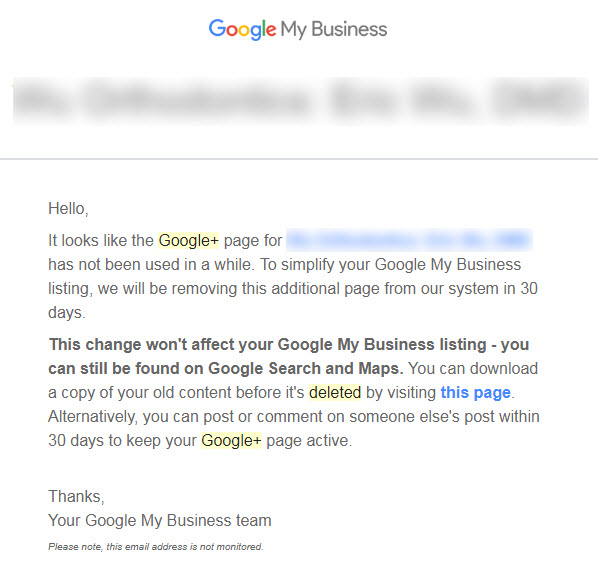 Email From Google to Business Owners About Deleting and Removing Unused Google+ Business Pages