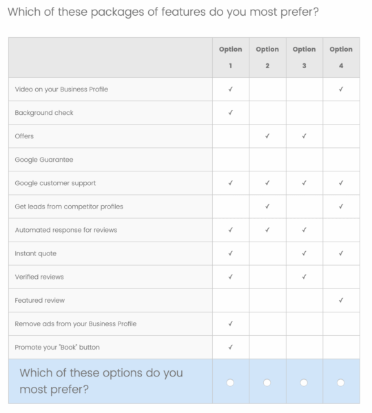 GMB survey monthly packages